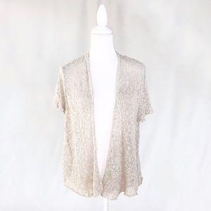 Eileen Fisher open cardigan sweater beige draped
